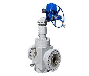 "Magnum Gate Valve 7-1/16"" x 5-1/8"" 15K with electric gear actuator."