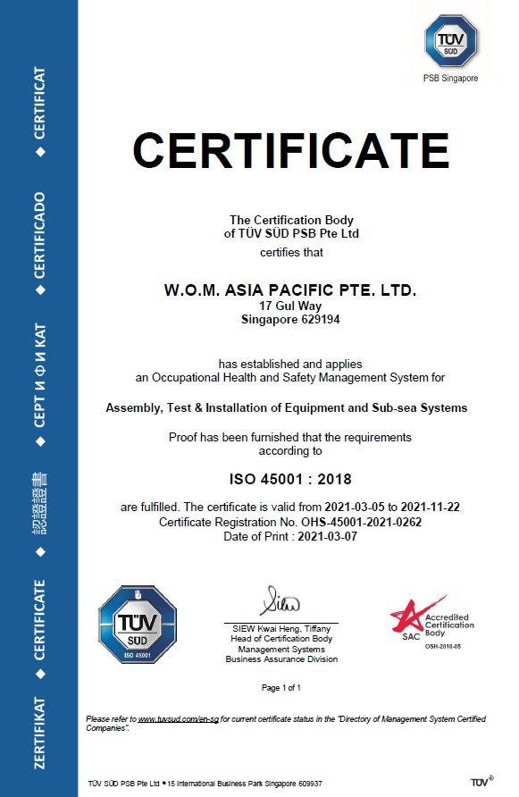 WOM AP Sigapore ISO 45001